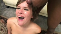 Petite young blonde with small tits invite four hung studs to stretch her holes