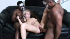 These two masked black dudes have huge cocks that she handles easily