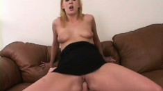 Lustful blonde mom begs a young stud to deeply drill her sweet peach