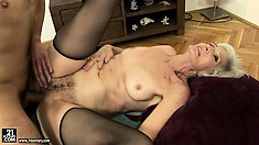 Cyber-granny Gets Banged And Creamed In And On Her Mossy Bush