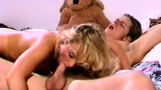 Busty blonde chick gets her tits sucked on during a great bang