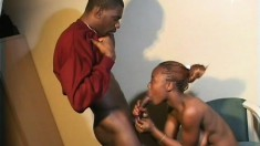 Young black bitch Shanon has a great blowjob delivery and perfect pussy form