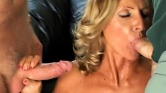 Hubby and another dude watch his wife get it on with a friend