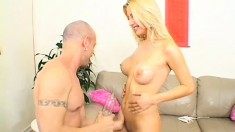 Lustful blonde milf with perfect tits and a lovely ass gets banged hard on the couch