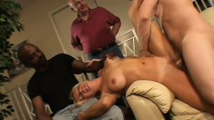 Cuckolded hubby gets a quick head from the hotwife as she rides her bull