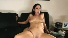 Buxom brunette Haley Paige takes every inch of a long dick up her ass