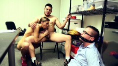 Horny slut fucks another dude in front of her tied up cuckoled husband