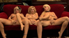 Three fascinating blondes hook up on the couch for a lesbian adventure