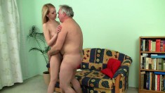 Old fart talks this little blonde into oral sex and letting him bang her