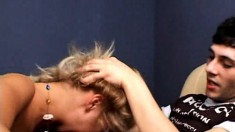Poor Amanda gets a rough face fucking and she swallows his load