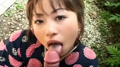 Kinky Japanese housewife gives a blowjob and gets a mouthful of sperm