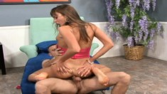Slender brunette Nika Noir has a hard stick driving her cunt to orgasm
