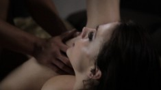 Hot brunette in a sensual evening filled with passionate fucking