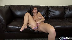 Syren De Mer is hot and horny and her pussy gets filled with a dildo