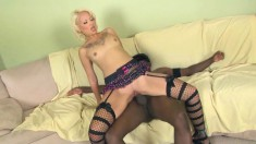 Slim blonde beauty has a black stud giving her the fuck she deserves