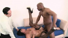 Stacked brunette wife fucks a massive black stick in front of her man