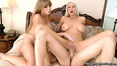 Blonde Darla Crane with her friend attack a lucky dude's cock in threesome