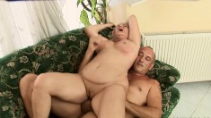 Lusty blonde woman wants to bounce on this hunky guy's piston
