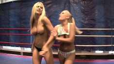 Lusty young Wivien gets into a ring with pretty Jessica Moore