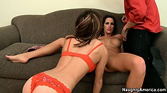 Hot brunette Jenni Lee makes out with her friend and he joins in