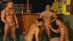Four gorgeous gay friends take turns pounding each other in the ass