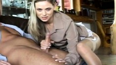 Beautiful blonde Victoria gives this lucky dude a sexy foot job