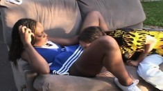 Delightful black cheerleader Aja has sex with a hung white guy outside