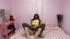 Horny ebony Nadia Nasty will do herself when he's not banging her