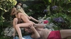 Sexy Felecia joins a naughty couple for an exciting threesome outside