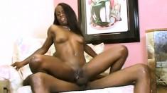 Sexy slender Trina Star stuffs a long black pole deep in her fiery ass