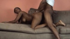 Lovely Kitt Katt rides a black prick before taking it deep from behind