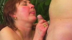 Short haired redhead mom takes a hard fucking after a sensual blowjob