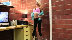 Provoking blonde mom loses her clothes and jerks off a big dick in POV