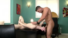 Skinny young dude opens his mouth and ass to swallow a thick cock