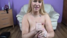 Curvaceous blonde housewife pleases a long dick with her huge breasts