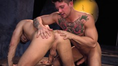 Tattooed gay lovers passionately kiss each other and enjoy anal sex