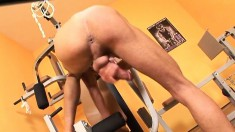 Eager guy gets naked and tries to suck his own bulging prick