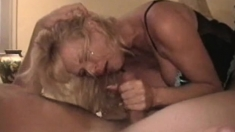 Blonde milf fucked doggystyle while sucking cock