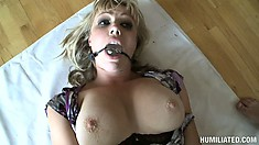 Adrianna Nicole goes for the hardcore anal action and get double banged in bondage