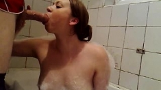 Homemade pov blowjob with brunette