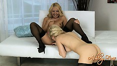 Aaliyah and Ashley are blonde lesbian lovers caressing and eating pussy