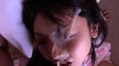 Japanese Doll Gets An Eye Clogged In Thick Cum