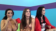 Three young busty honeys get all naked and playful to seduce you