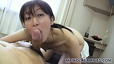 Knowing exactly how to tease and please, Miki gives that cock a special treatment