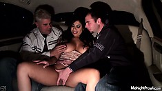 Curvy latina gets felt up by her friends in the back of a limo