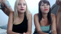 Blonde And Brunette In Group Blowjob