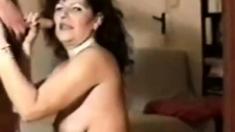 Hot Brunette sucks old cock for nice cum shot.