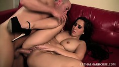 Valerie spreads her lustful legs allowing him to fill her tight pussy with his hard cock
