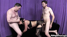 Jada Sky wears sexy lingerie while taking it raw in a threesome