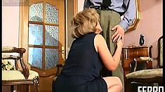 Chubby hoochie gets a young officer hard and ready to fuck her